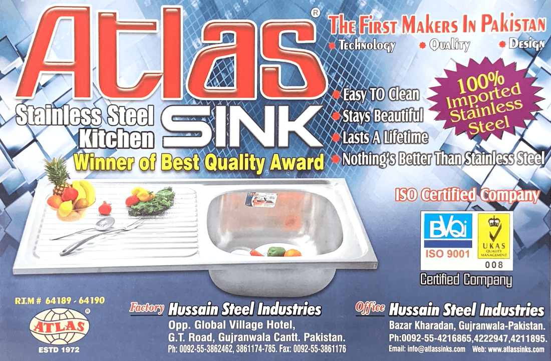 Winner of Best Quality Award - Atlas Sink